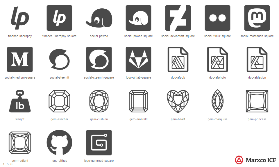Marxco Iconfont CS 1.6.0 Update